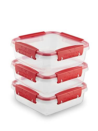Butterfly Vorratsdose | 3er-Set (3 x 0,8l) |100% dicht & auslaufsicher | Frischhaltedose mit Deckel | -40 bis +100 Grad | BPA-freier Kunststoff | Aufbewahrung für Lebensmittel |Stapelbar
