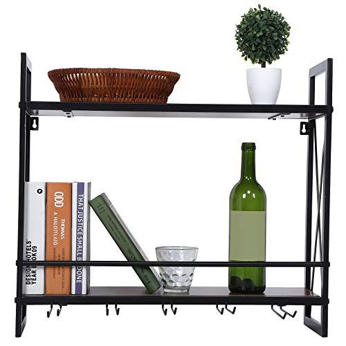 Estantería para vino, de hierro y tabla de densidad, estante para botellas horizontal, con 2 estantes, 20 x 60 x 54 cm