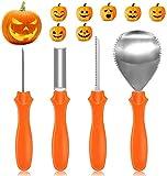 Yifone Professionale Kit di Intaglio della Zucca, 4 Pezzi Pesanti in Acciaio Inox Strumenti di Intaglio della Zucca Halloween con 10 Pezzi Halloween Stencil
