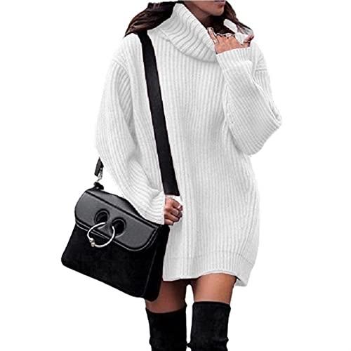 yueyouhuyou Suéter para mujer, cuello alto, manga larga de farol, suelto, gran tamaño, vestido de invierno, casual, cómodo (color: blanco, tamaño: XL)