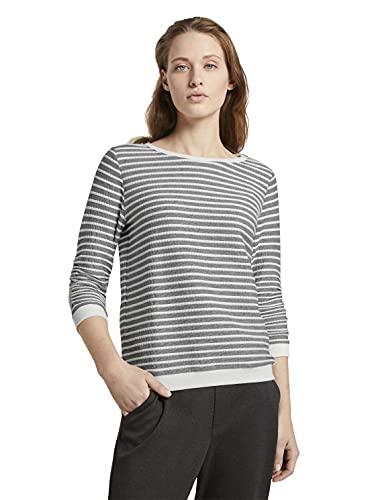 TOM TAILOR Denim Damen 1017277 Jacquard Sripe Sweatshirt, Blue White Structured Stripe, S