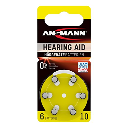 ANSMANN Hörgerätebatterien 10 gelb 6 Stück - Zink Luft Hörgeräte Batterien Typ 10 P10 ZL4 PR70 mit 1,4V - Knopfzelle mit besonders langer Laufzeit für Hörgerät Hörverstärker & Hörhilfe