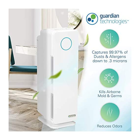 Germ guardian true hepa filter air purifier, uv light sanitizer, eliminates germs, filters allergies, pets, pollen… 6 5-in-1 air purifier for home - electrostatic hepa media air filter reduces up to 99. 97% of harmful germs, dust, pollen, pet dander, mold spores, and other allergens as small as. 3 microns from the air pet pure filter - an antimicrobial agent is added to the filter to inhibit the growth of mold, mildew and odor-causing bacteria on the filter's surface kills germs - uv-c light helps kill airborne viruses such as influenza, staph, rhinovirus, and works with titanium dioxide to reduce volatile organic compounds