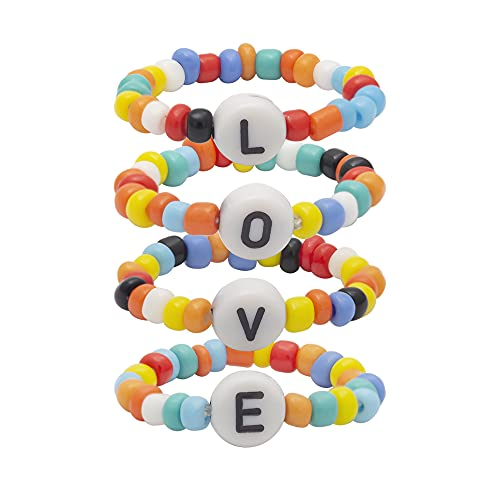 Ai Limei Colorful Letter LOVE Beaded Ring, Creative Ethnic Style 4-Piece Ring Jewelry, Suitable for Women and Girls