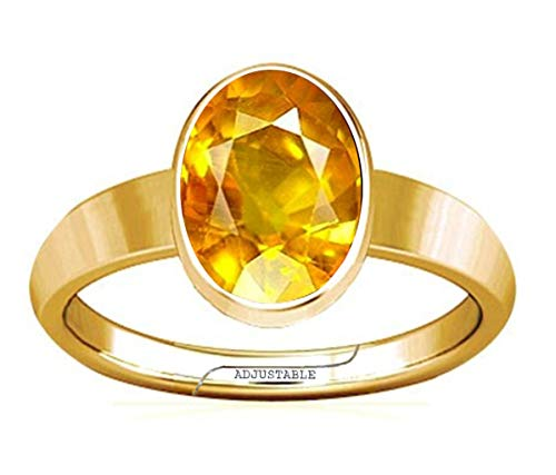 Divya Shakti 4.25-4.50 Carat Yellow Sapphire/Pukhraj Gemstone Panchdhatu Adjustable Plain Design Ring for Mens & Womens