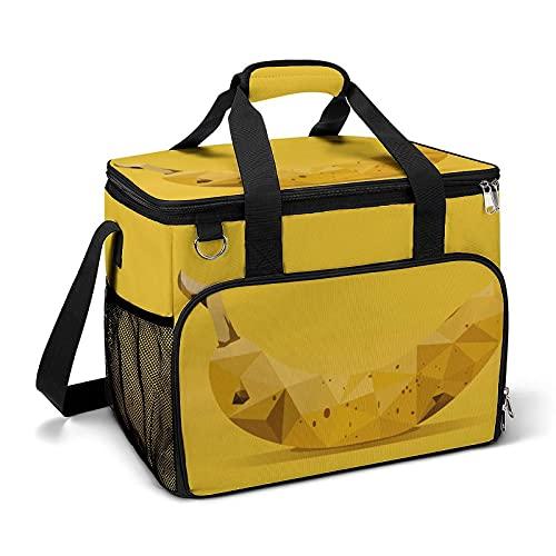 Bolsa térmica térmica portátil a prueba de fugas, diseño de plátano adecuado para niños y niñas con bolsa y bolsillos laterales de malla, adecuado para picnics escolares o trabajo.