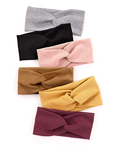 Huachi Turban Headbands for Women Wide Head Wraps Knotted Elastic Teen Girls Yoga Workout Solid Color Hair Accessories, 6 Pack