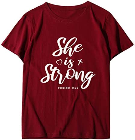 Eoeth Womens She is Strong T-Shirts,Casual Loose Short Sleeve Shirts Fashion Summer O-Neck Blouse Top Pullover Tracksuits