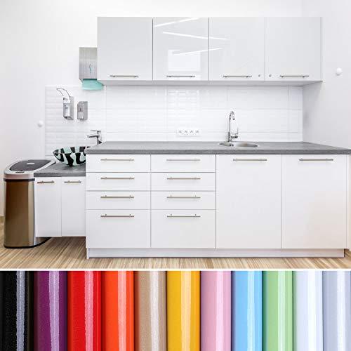 KINLO Aufkleber Küchenschränke weiß 40x500cm aus PVC Tapeten Küche Klebefolie Möbel wasserfest Aufkleber für Schrank selbstklebende Folie Küchenfolie Dekofolie MIT GLITZER