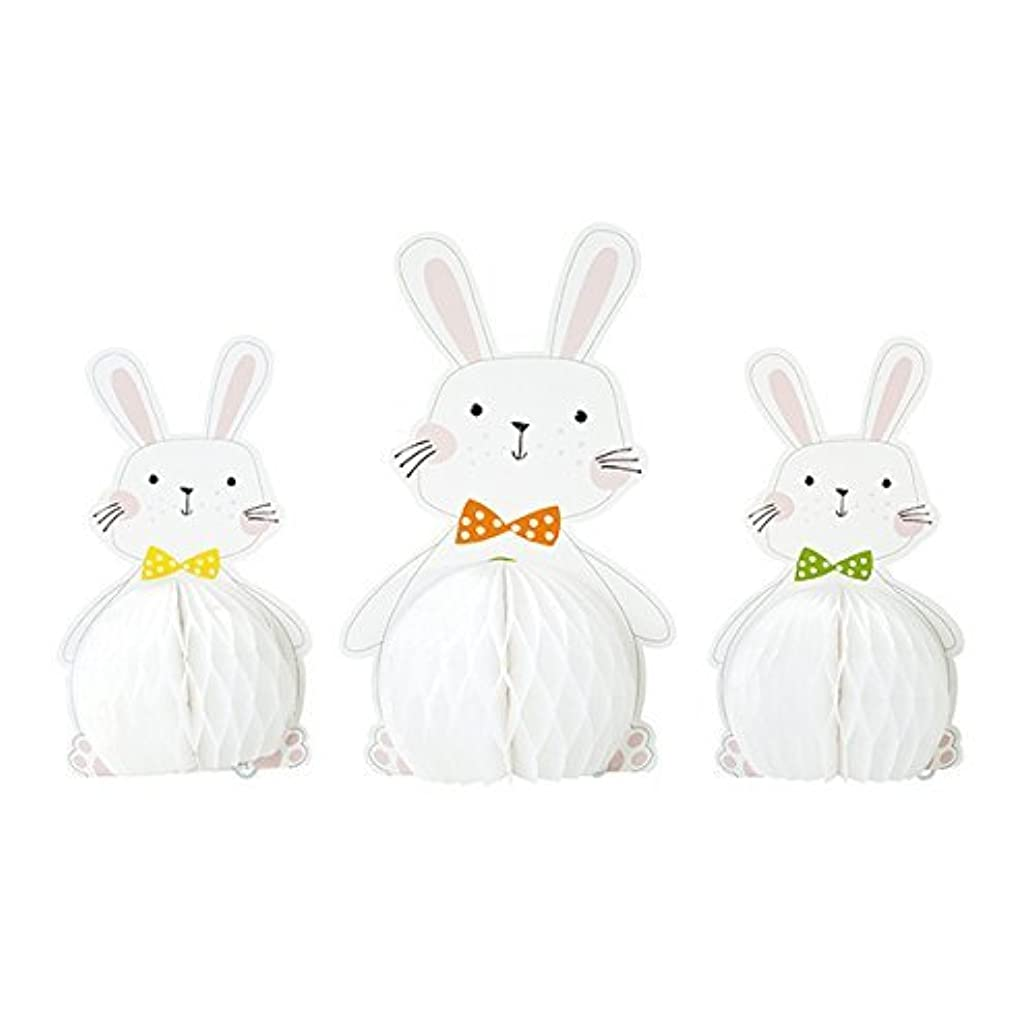 Talking Tables Easter/Spring Time Party Honeycomb Bunnies Hanging Decoration (3 Pack), Multicolor