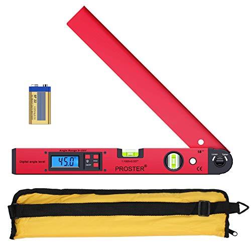 Proster Digitaler Winkelmesser 0-225 ° Digitaler Winkelmesser mit Wasserwaage und LCD Beleuchtetung 400 mm / 16 Zoll Winkelmessgerät mit Batterie und Tasche für Bedachungstechnik -Rot
