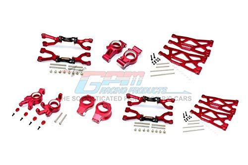 G.P.M. Traxxas X-Maxx 4X4 Aluminum Front & Rear Upper + Lower Arms + Front C Hubs + Front Knuckle Arms Set (for X-Maxx 6S / 8S) - 92Pc Set Red