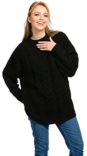 Citizen Cashmere Irish Women Pullover Sweaters - Fisherman Sweater (Black, M) 41 151WC-02-02