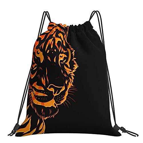 Paedto Turnbeutel Sporttasche Bright Red Tiger Head Kordelzug Rucksack Sporttaschen Strandtasche für Yoga Gym Schwimmen Reise Strand
