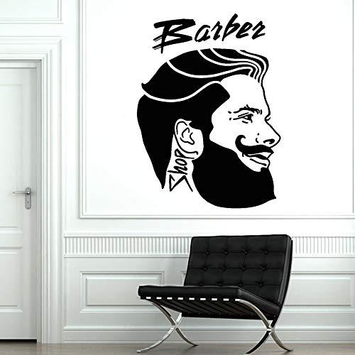 jtxqe Friseur Logo Logo Frisur Männliche Frisur Kopf Friseursalon Kunst Wandaufkleber DIY Vinyl Wird Für Die Wanddekoration Verwendet 42X31Cm
