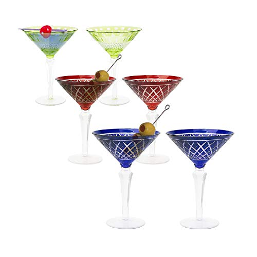 IMPULSE! Diamond cut colored Martini glasses, Set of 6 Glasses: Multi-Color Pack
