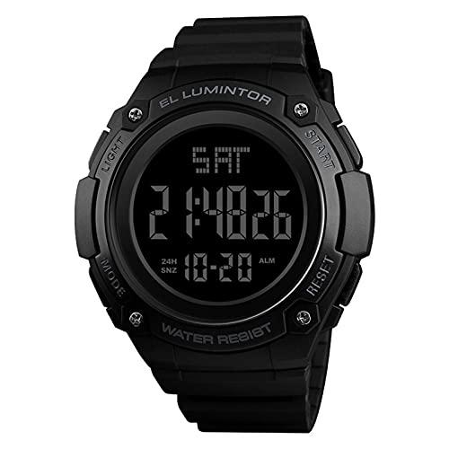 JTTM Relojes Militares Digitales Sencillos para Hombre Reloj De Pulsera Deportivo Negro con LED Electrónico A Prueba De Agua con Doble Tiempo,Negro