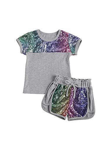 Dazzerake Conjunto de lentejuelas para niña, cuello redondo, manga corta, parte superior elástica con lentejuelas, pantalones cortos cómodos y transpirables, juego completo de niña gris 5-6 Años