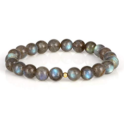 NirvanaIN Natural Labradorite Bracelet, Handmade Semi Precious Gemstone 8mm Beaded Stretch Bracelets Jewelry for Unisex