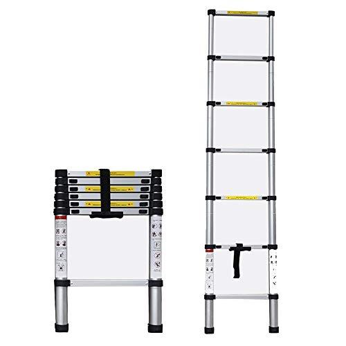 XC Multi-Purpose Draagbare Telescopische Ladder, Eenzijdige Telescopische Ladder, Telescopische Aluminium Ladder, 2-5.6m Huishoudelijke Ladder Vouwen Telescopische Ladder Laadlager 120kg Aluminium Materiaal Li 4.4m