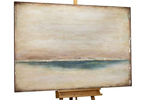 KunstLoft® Acryl Gemälde 'Polaroid Picture' 150x100cm | original handgemalte Leinwand Bilder XXL | Abstrakt Beige Blau | Wandbild Acrylbild Moderne Kunst einteilig mit Rahmen