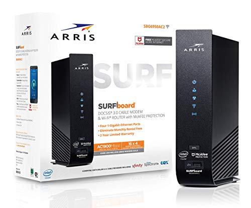 ARRIS SURFboard (16x4) DOCSIS 3.0 Cable Modem Plus AC1900 Dual Band Wi-Fi Router, 686 Mbps Max Speed, Certified for Comcast Xfinity, Spectrum, Cox & more (SBG6950AC2-RB) RENEWED