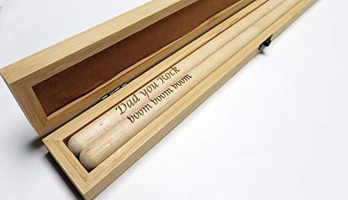 Baquetas personalizadas 5B con estuche de presentación de bambú en blanco