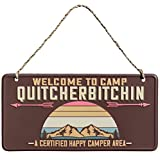 Level Up Now Camp Quitcherbitchin- Welcome Happy Camper Sign - Camping Decor for Camper | Rv Decor | Funny Sign for Camper Decor, Camper Gifts, Garage, Man Cave Decor, Rv Gifts | Camper Accessories