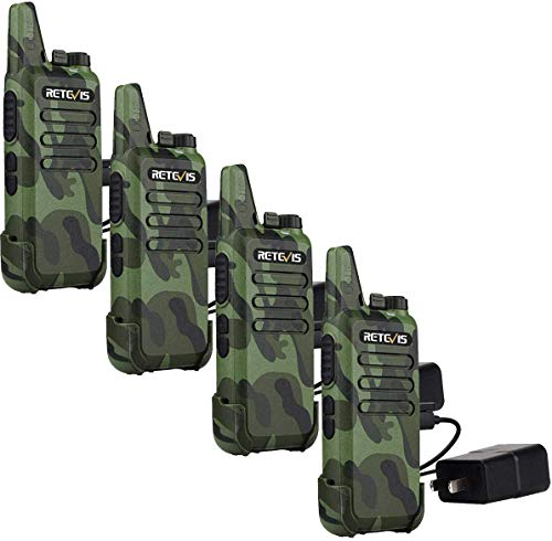 Retevis RT22 Walkie Talkies Rechargeable Voice Activated Emergency Alarm Outdoor Cruise Ship Walkie Talkies Two Way Radio(4 Pack)