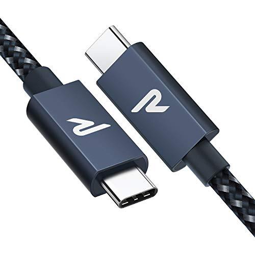 RAMPOW Cable USB C a USB C 3.2 Gen 2x2 con E-Mark, Cable Thunderbolt 3 con PD 3.0[20V/5A 100W], 4K@60Hz para Macbook Pro 16'' 2019/2017, iMac, Samsung S10/S9, Huawei P30, Nintendo Switch y más