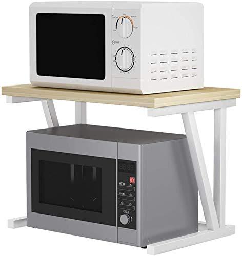 Rejilla de microondas Microondas Horno Historieta V Tipo Venta de Plantas de Almacenamiento Doble Soporte de Cocina Suministros de Cocina Cocina Contador Organizador (Color : White)