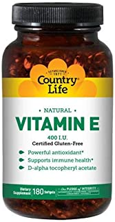Country Life Natural Vitamin E - Supports Immune Health - 400 IU, 180 Softgels