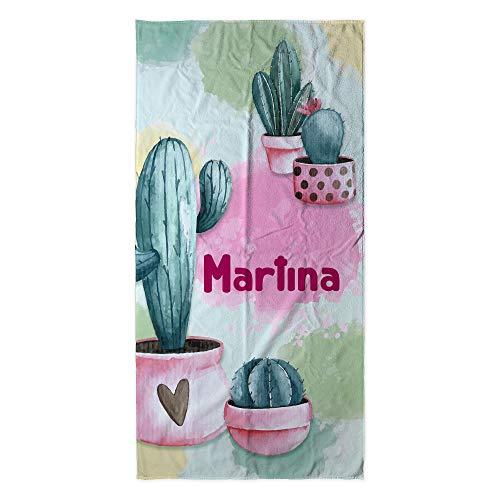 Toalla Playa Personalizada con Nombre o Texto. Regalo Infantil Toalla niño y niña. Piscina Playa Camping. Varios Diseños y Tamaños. Cactus