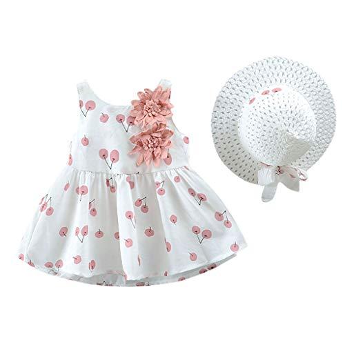 ZODOF Vestidos Niña Verano Tul Ropa Bebe Niña Recien Nacida Manga Larga Tutú Vestido Bebe Niña Bautizo Ropa para Niñas Princesa Sombrero Chica Fiesta