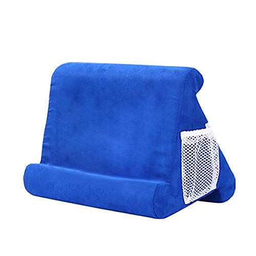 PGZLL Pillow Tablet Holder, tablet holder cushion, Lap Holder Pad Stand, Foldable Desktop Stand Mount Dock for iPad Pro 12.9, 11, 10.5, 9.7, iPad Air mini 2, 3, 4, other Tablets (blue)