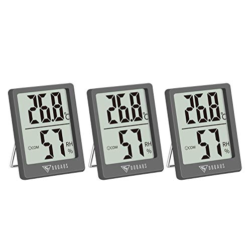 DOQAUS Digital Thermometer Innen, 3 Stück Thermo-Hygrometer Innen Hygrometer Feuchtigkeit Raumthermometer mit Hohen Genauigkeit, für Innenraum, Babyraum, Wohnzimmer, Büro(Grau)