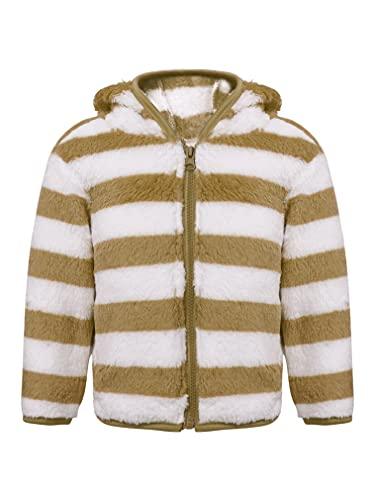 JEATHA Toddler Baby Boys Girls Fall Winter Fleece Jacket Zip Up Hoodie Flannel Coat Hooded Cardigan Khaki 9-12 Months