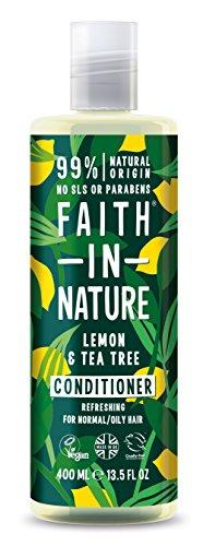 Faith in Nature Natürlicher Zitrone & Teebaum Conditioner, Erfrischend, Vegan & Ohne Tierversuche, Frei von Parabenen und SLS, für Normales bis Öliges Haar, 400 ml