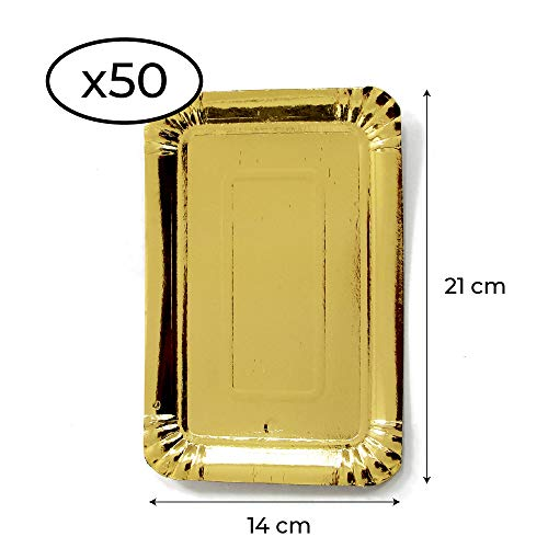 Extiff Lot de 50 Plateaux en Carton doré - Plateaux de présentation pour pâtisseries ou Buffet Froid (14 x 21 cm)
