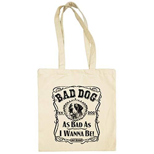 Diver Bebé Bolsa de tela frase perro raza San Bernardo Bad dog as bad as I wanna be - Beige, 38 x 42 cm