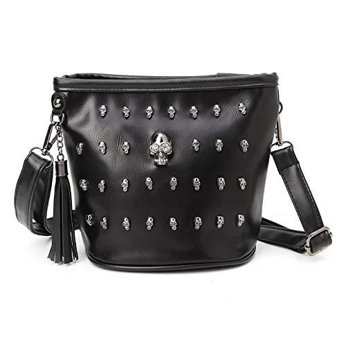 HongYa Fashion Women Skull Punk Goth Tassel Messenger Shoulder Bag Crossbody-default
