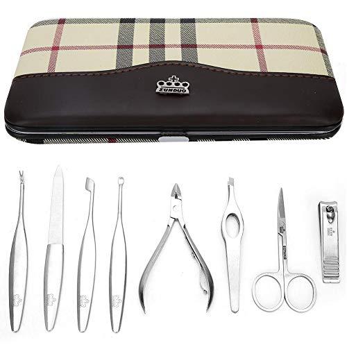 8pcs Kit de Coupe-Ongles en Acier Inoxydable, Ciseaux à Sourcils Dead Skin Pusher Manucure Tool Set