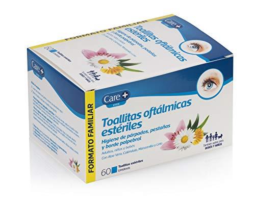 Care + Toallitas Oftálmicas - higiene de párpados, pestañas y borde palpebral - 60 unidosis