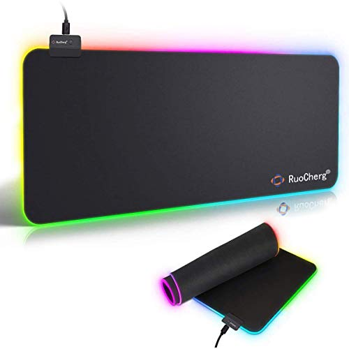 LED Gaming Mauspad RGB Mauspad with 7 LED Farben 10 Beleuchtungs-Modi USB Gaming Mouse Mat Anti Rutsch Matte für Computer Professionelle Gamer