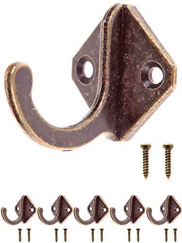FUXXER® - Antik-Haken, Garderoben-Haken, Handtuch-Haken Kleider-Haken, Eisen-Haken Messing Bronze Design, Vintage Landhaus Retro, Raute, 5er Set