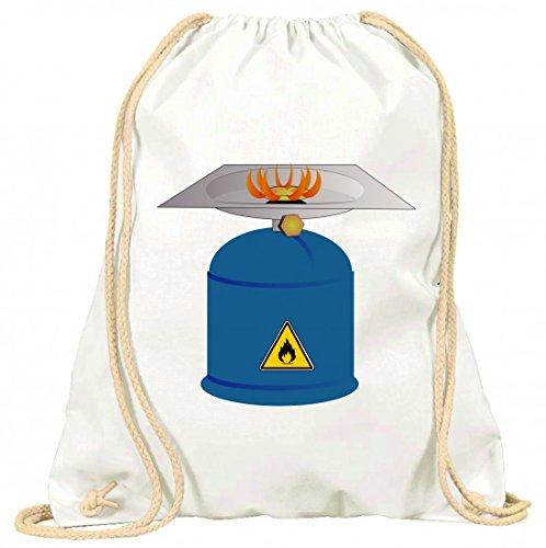 Druckerlebnis24 Turnbeutel Brenner- Gas- Camping- WÄRME- Feuer- Herd- Flamme- Brennen- Kraftstoff mit Kordel - 100% Baumwolle- Gymbag- Rucksack- Sportbeutel