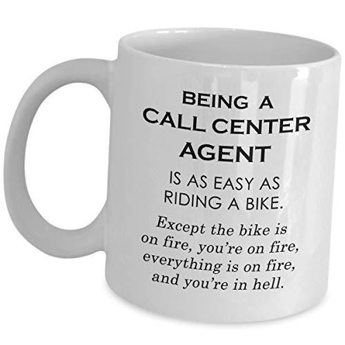 21392 100% Keramik 11 Unzen weiße Tasse Callcenter-Agent So einfach wie Fahrradfahren Center-Manager-Betreiber Kundendienstmitarbeiter Lustige süße Gag-Büroidee