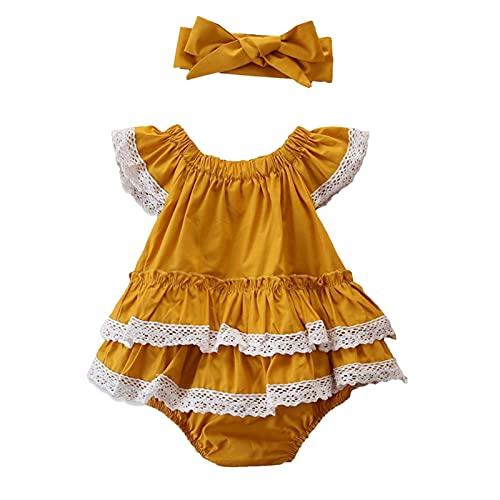 NCONCO Mono de manga corta para bebé y diadema para niñas de 3 a 24 meses