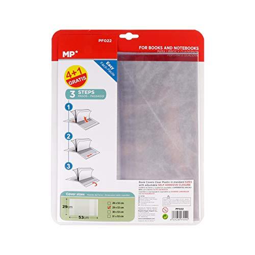 MP - Forro de Libros Autoadhesivo y Ajustable Transparente - Pack de 5 Unidades Forra Fácil 29x53 cm