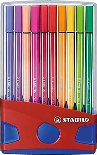 Stabilo Bolígrafo 68 Bolígrafos de Punta de Fibra Set de Escritorio - Varios Colores, Paquete de 20 - Azul/Rojo, 20er Etui